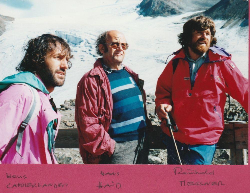 Hans Kammerlander, Hans Haid, Reinhold Messner, 21.09.1991, vor der Similaunhütte